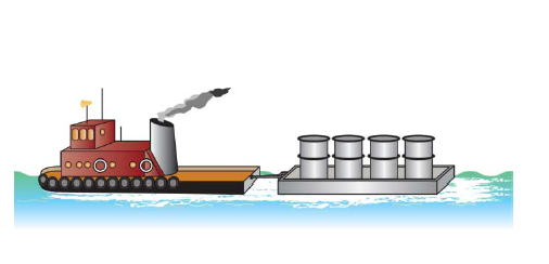 Solved: A Tugboat Pulls A Small Barge Through A Harbor. Th ...